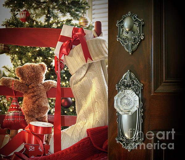 Background Photograph - Teddy Waiting For Christmas Time by Sandra Cunningham