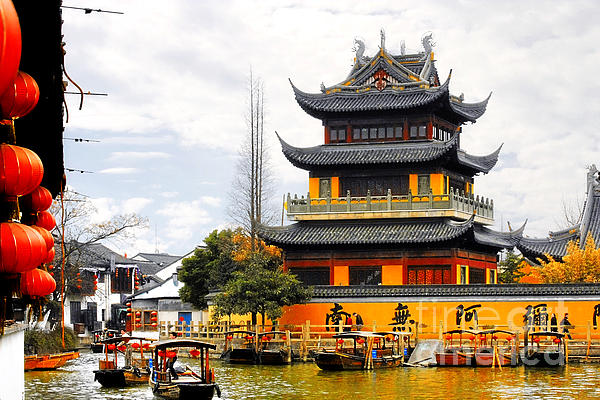 Waterways Photograph - Temple Pagoda Zhujiajiao - Shanghai China by Christine Till
