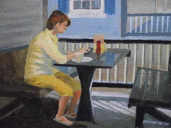 Alfresco Dining Painting - Texting At Breakfast by Robert Rohrich