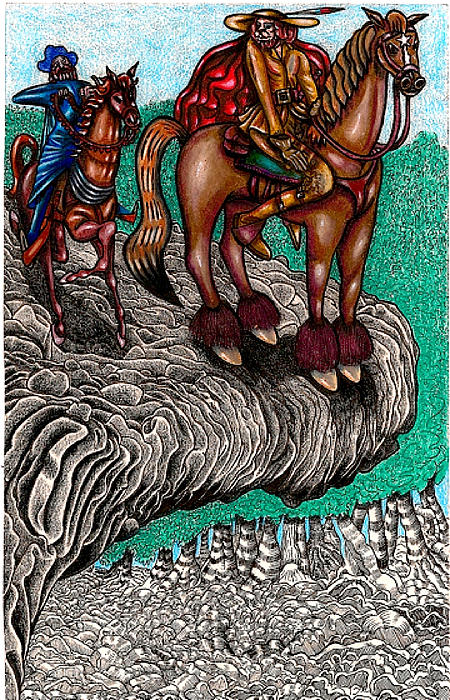 Magic Drawing - The Beast And Nahamanides In Shitaki Forest by Al Goldfarb
