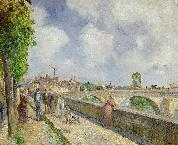 The Painting - The Bridge At Pontoise by Camille Pissarro