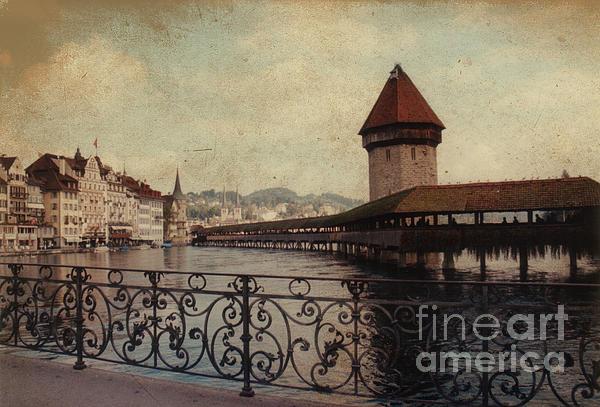 Landmark Photograph - The Chapel Bridge In Lucerne Switzerland by Susanne Van Hulst