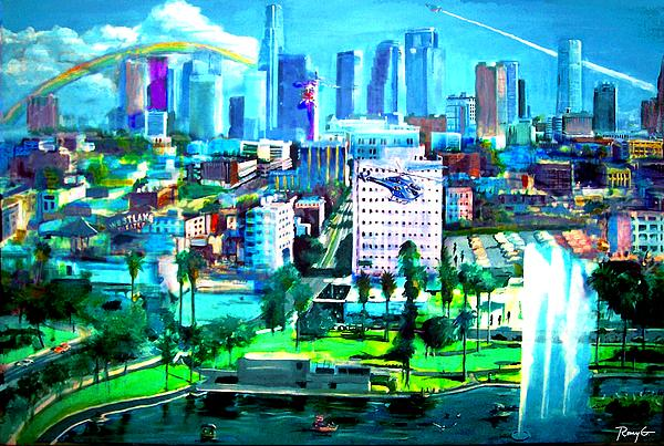 Los Angeles Painting - The City Of Angels by Rom Galicia