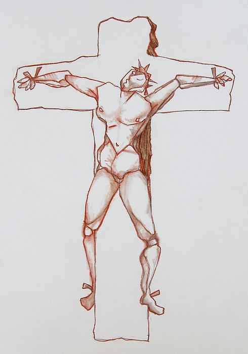 Jesus Drawing - The Curse Exchanged by Ron Cantrell