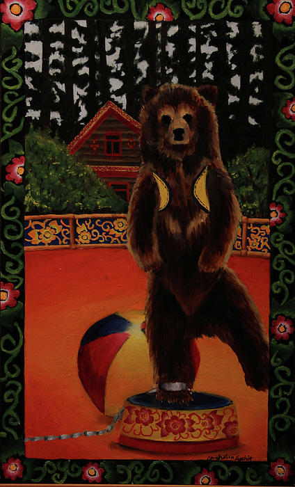 Bear Painting - The Dancing Bear Is Far From Home by Anzhelika Lychik