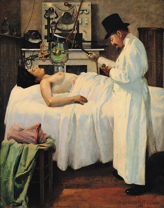 Doctor Painting - The First Attempt To Treat Cancer With X Rays by Georges Chicotot