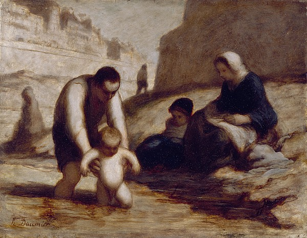 The Painting - The First Bath  by Honore Daumier