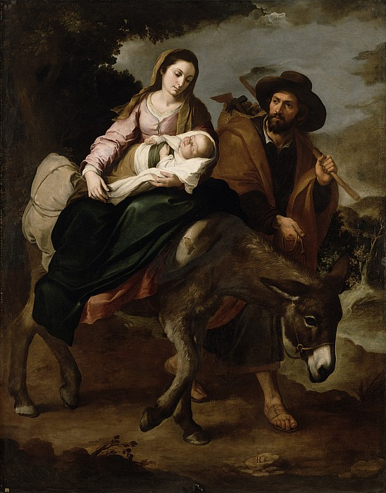 The Painting - The Flight Into Egypt by Bartolome Esteban Murillo