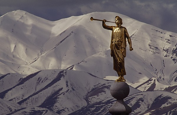 North America Photograph - The Gilded Statue Of The Angel Moroni by James P. Blair