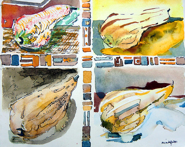 Gourds Painting - The Gourd Quartet by Mindy Newman