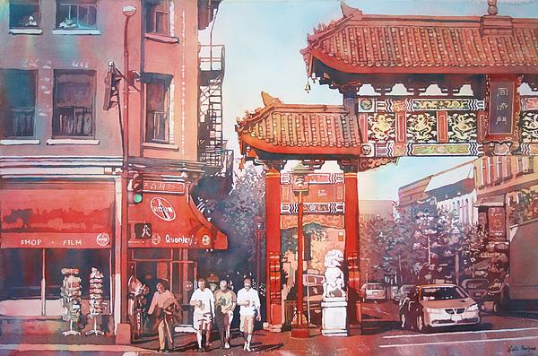 Chinatown Painting - The Harmony Gate by Leslie Redhead
