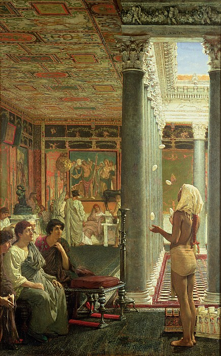 The Painting - The Juggler by Sir Lawrence Alma-Tadema