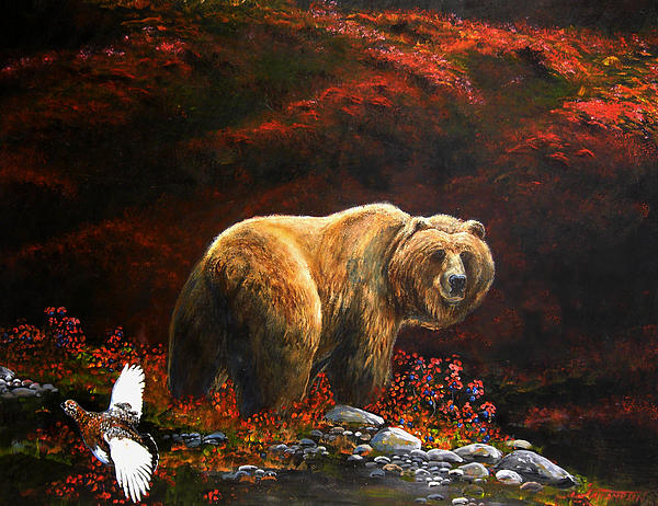 Grizzly Bear Painting - The King Of Blueberry Hill by Scott Thompson