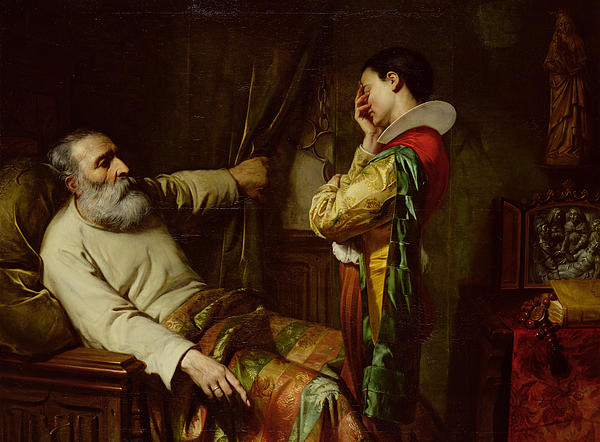 The Last Moments Of Christopher Columbus (1450-1506) 1870 (oil On Canvas) Ordering His Son To Place The Chains He Wore When Arrested In The Coffin With Him; Dying; Old; Death; Spanish Explorer; Father; Last Wishes; Manacles; Christophe Colomb;deathbed Painting - The Last Moments Of Christopher Columbus  by Claude Jacquand