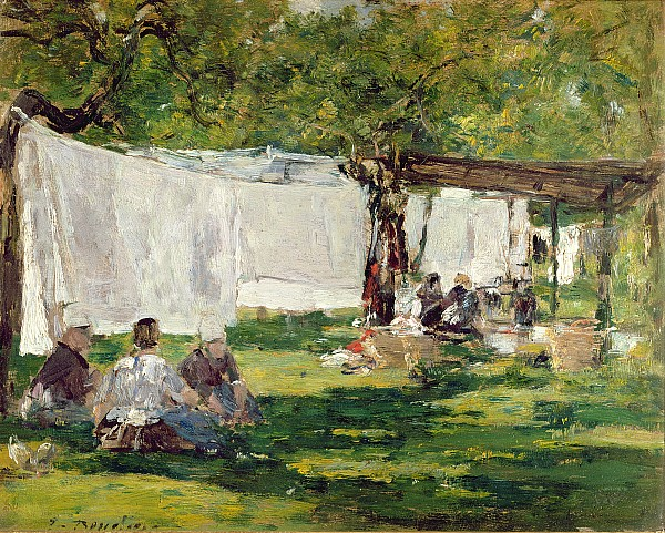 The Painting - The Laundry At Collise St. Simeon  by Eugene Louis Boudin