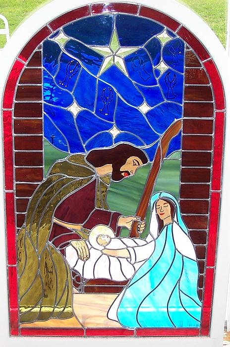 Stained Glass Glass Art - The Nativity Of Christ by Gladys Espenson