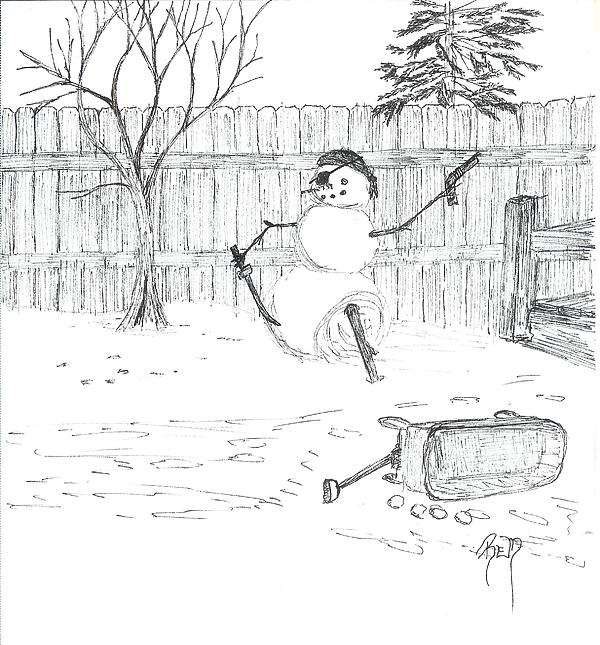 Snowman Drawing - The Pirate In My Backyard - Sketch by Robert Meszaros