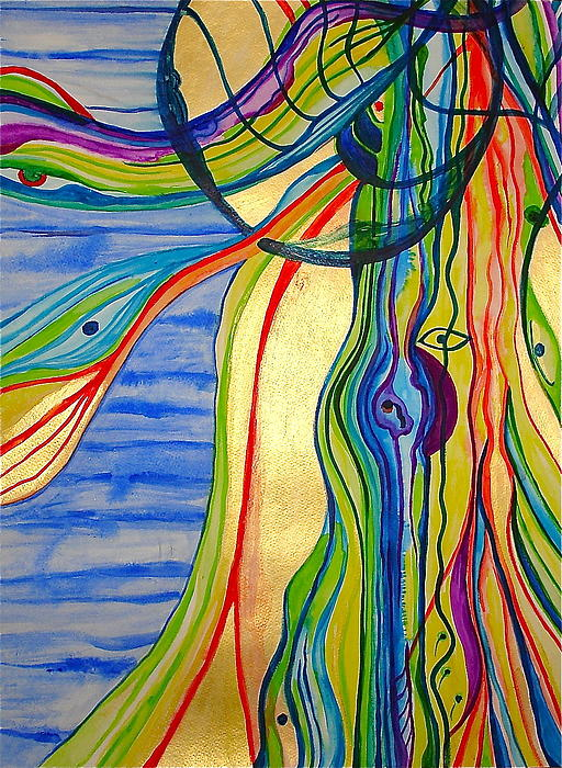 Jelly Fish Painting - The Psychedelic Jellyfish by Erika Swartzkopf