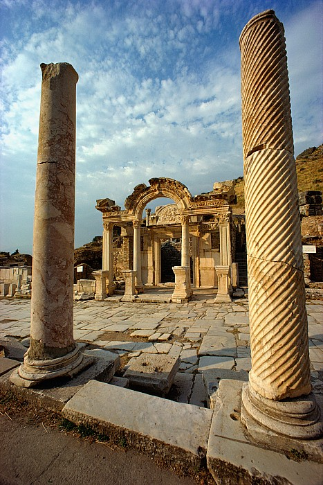 Architectural Details Photograph - The Remains Of Hadrians Gate At Ephesus by Gordon Gahan