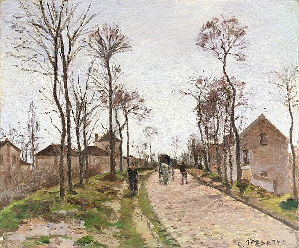 The Painting - The Road To Saint Cyr At Louveciennes by Camille Pissarro