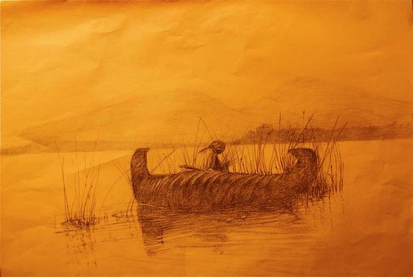 Native American Drawing - The Rush Gatherer by Ronald Gillis