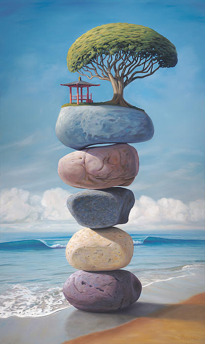 Stacked Stones Painting - The Shape Of Your Laughter by Paul Bond