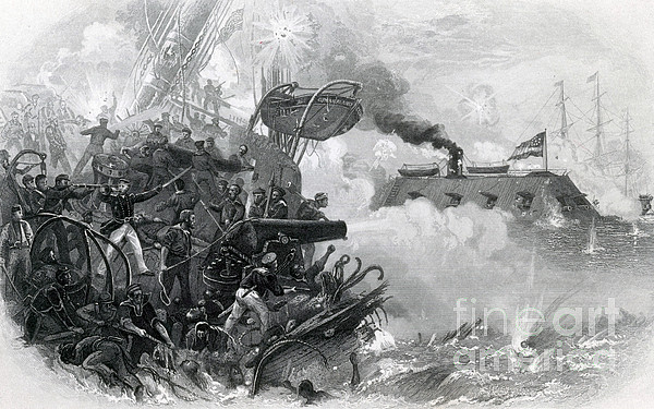 America Photograph - The Sinking Of The Cumberland, 1862 by Photo Researchers