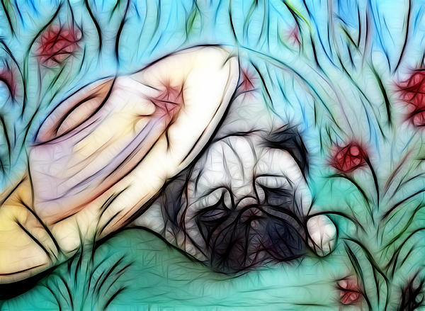 Pug Painting - The Sleepy Garden Pug 2 by Lisa Stanley
