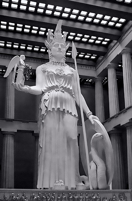 Greek Photograph - The Statue Of Athena Bw by Linda Phelps