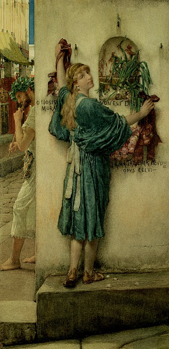 The Painting - The Street Altar by Sir Lawrence Alma-Tadema