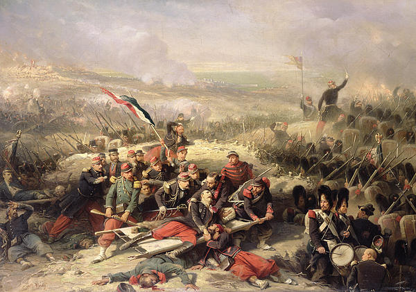 Flag Painting - The Taking Of Malakoff by Adolphe Yvon