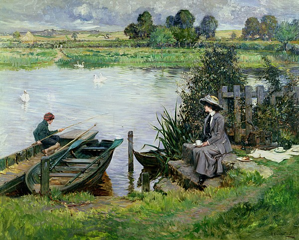 The Painting - The Thames At Benson by Albert Chevallier Tayler