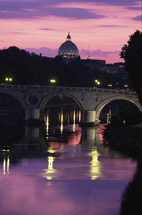 Europe Photograph - The Tiber River And The Dome Of St by Richard Nowitz