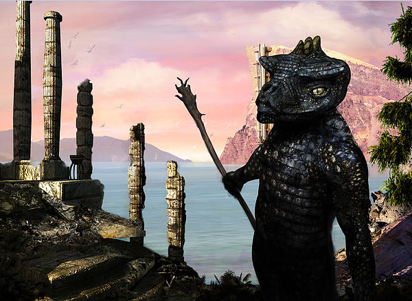 Lizardman Painting - The Tower Guard by Brian Warner
