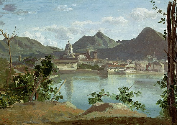 Town Painting - The Town And Lake Como by Jean Baptiste Camille Corot