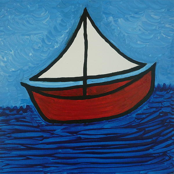 We Used To Make Some Our Toys... This Escaped From My Memory... Painting - The Toy Boat by Gregory Young