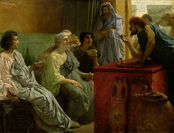The Painting - The Wine Shop by Sir Lawrence Alma-Tadema