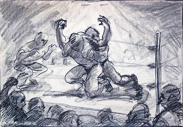Wrest Drawing - The Wrestling Match by Bill Joseph  Markowski