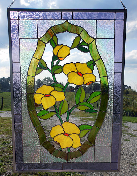 Flowers Painting - The Yellow Roses Stained Glass Panel by Arlene  Wright-Correll