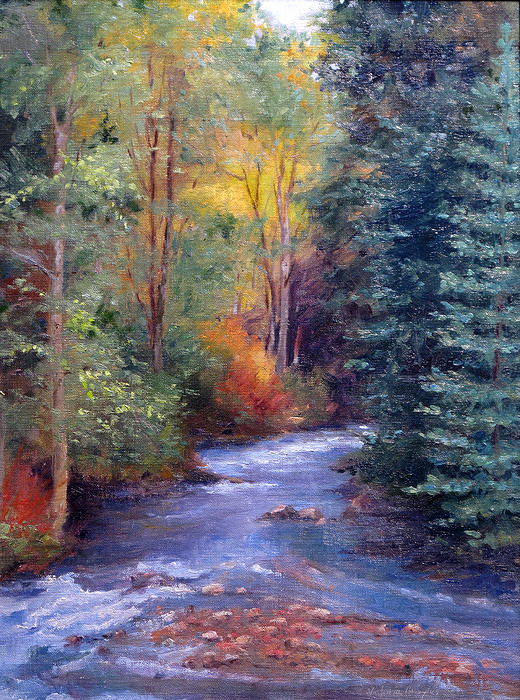 Thecreekearlyfall Painting by Victoria  Broyles