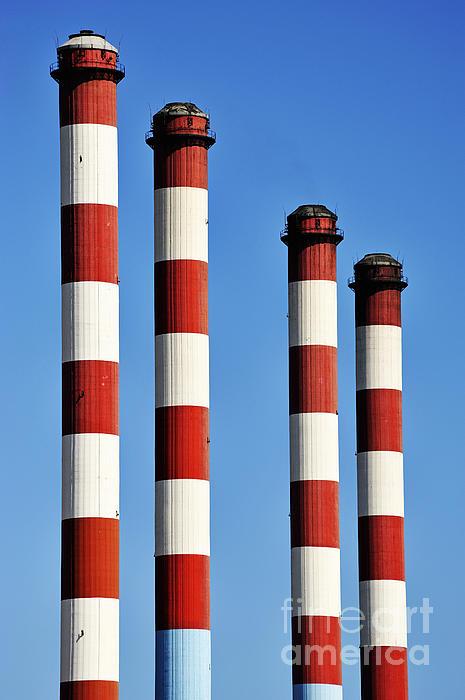 Environment Photograph - Thermal Powerplant Chimneys by Sami Sarkis