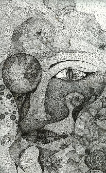 Pointillism Drawing - Thinking Of Back-home by Alice Rotaru