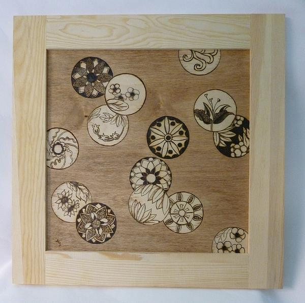 Flower Pyrography - Thought Bubbles Of Inspiration Framed Pyrographic Art By Pigatopia by Shannon Ivins