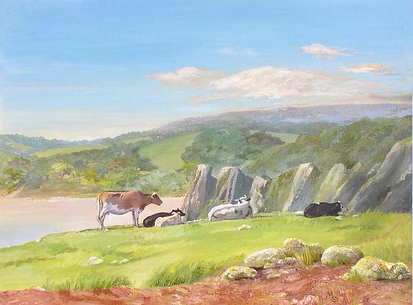 Landscape Painting - Three Cliffs Bay Gower by Maureen Carter