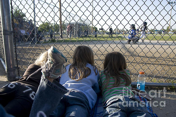 Horizontal Photograph - Three Girls Watching Ball Game Behind Home Plate by Christopher Purcell