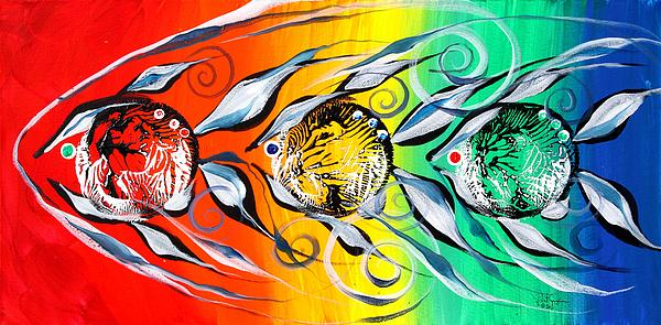 Fish Painting - Three In A Row ... Three by J Vincent Scarpace