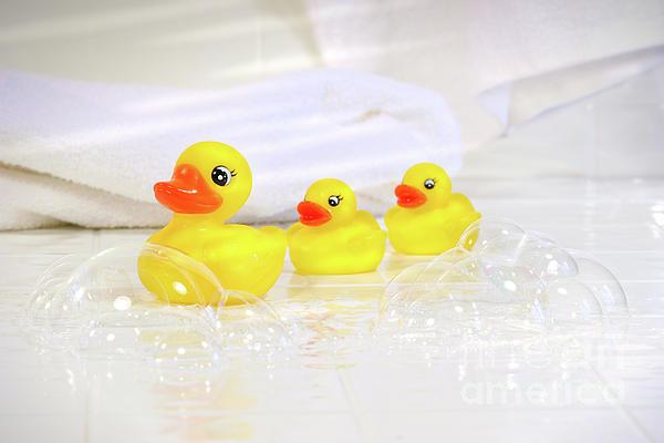 Water Photograph - Three Little Rubber Ducks by Sandra Cunningham