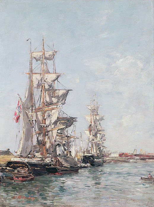 Three-masted Painting - Three-masted Boats At The Quay In Deauville Harbour by Eugene Louis Boudin