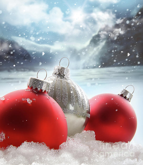 Background Photograph - Three Red Christmas Balls In The Snow by Sandra Cunningham