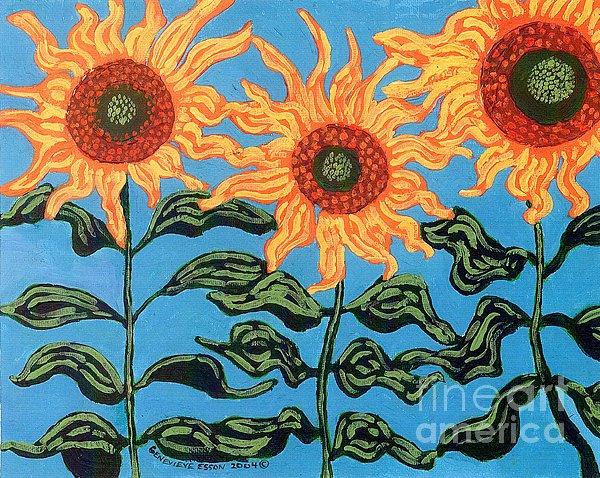 Sunflower Painting - Three Sunflowers IIi by Genevieve Esson